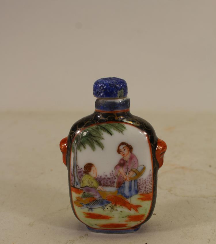 SIGNED, CHINESE QING DYNASTY FIGURAL SNUFF BOTTLE