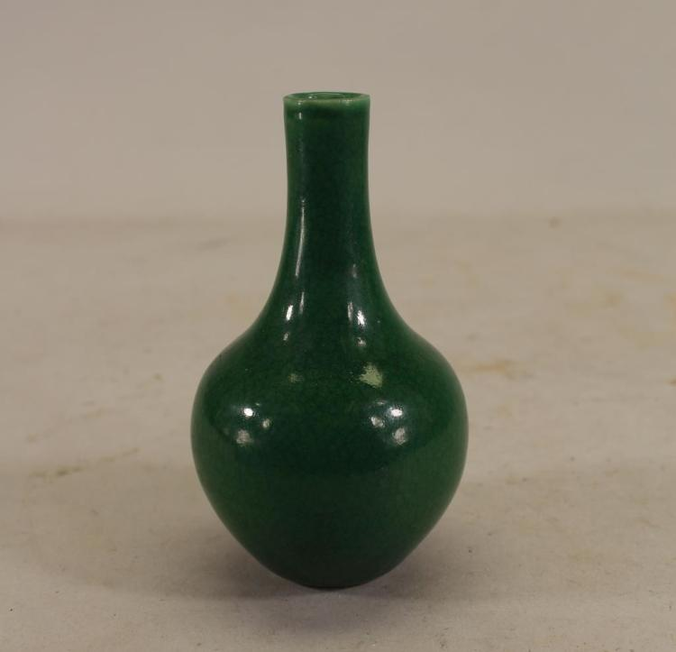 CHINESE GREEN GLAZED CRACKLEWARE VASE