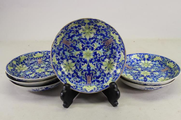 (6) QING DYNASTY BLUE GROUND CLOISONNE DISHES