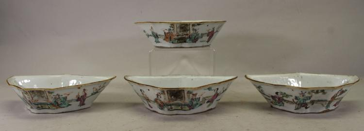 (4) CHINESE QING DYNASTY FAMILLE ROSE LOW BOWLS