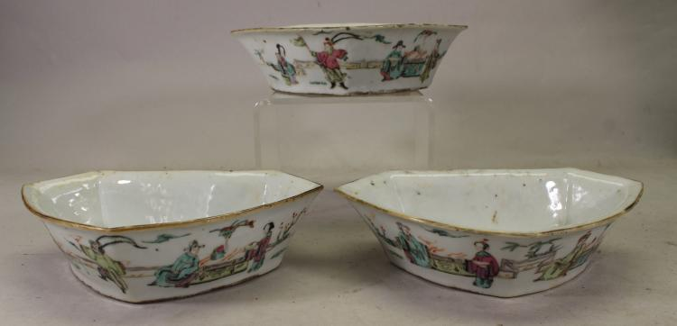 (3) CHINESE QING DYNASTY FAMILLE ROSE BOWLS