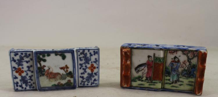 (2) CHINESE BLUE/WHITE FIGURAL INK STANDS
