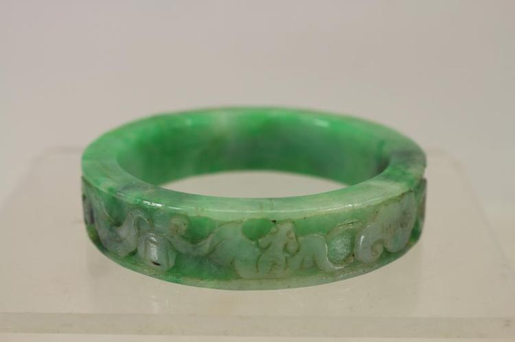 CARVED CHINESE STONE BANGLE