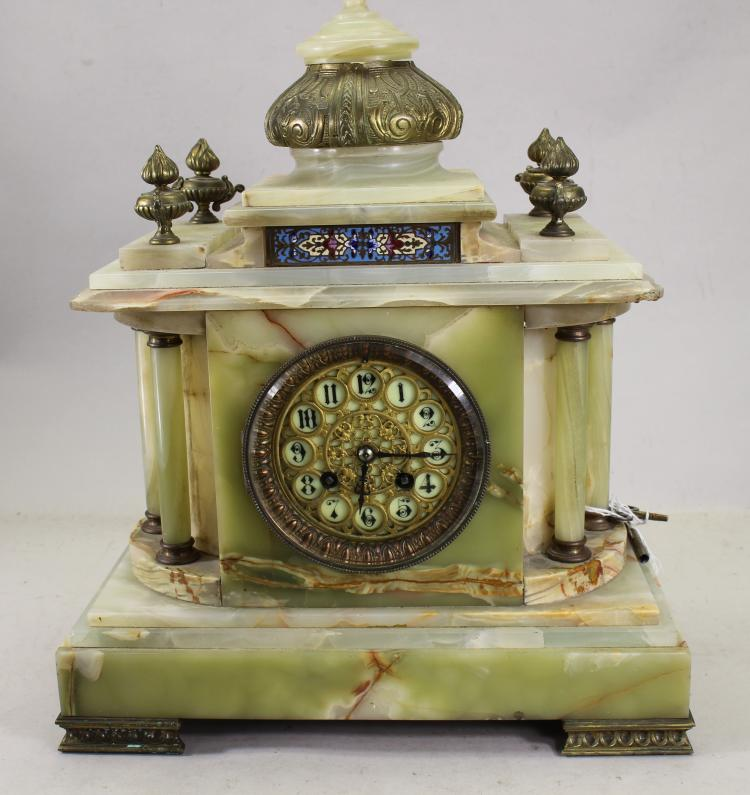 EXCEPTIONAL FRENCH ONYX/CHAMPLEVE MANTEL CLOCK