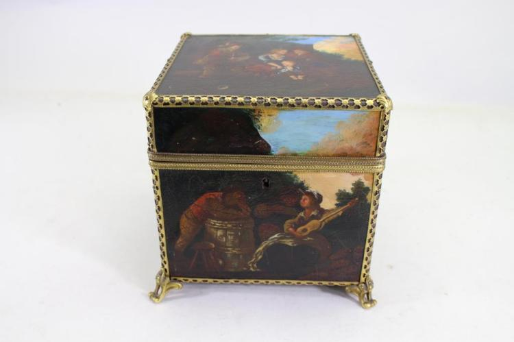 18TH C. CONTINENTAL GILT MOUNTED PAINTED BOX