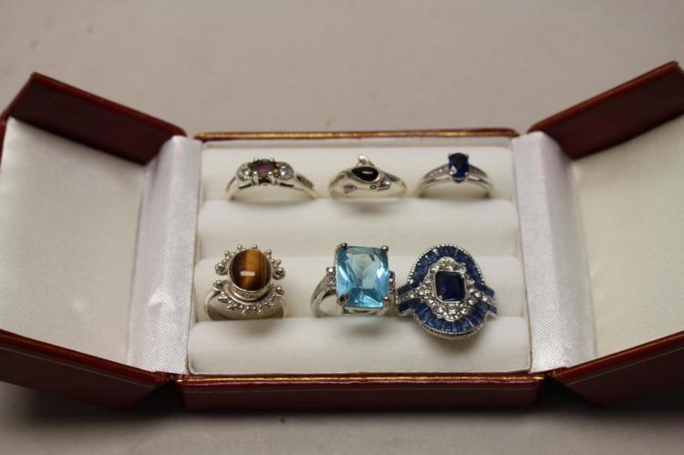 (6) STERLING AND MIXED STONE RINGS