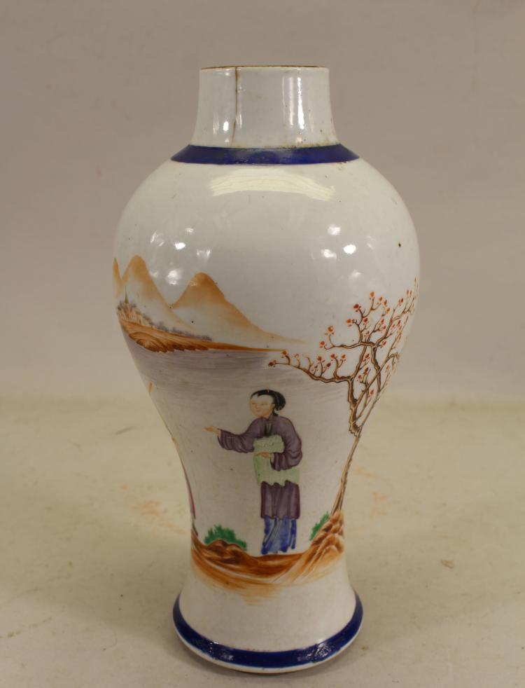 CHINESE EXPORT BALUSTER FORM POEM VASE (AS IS)