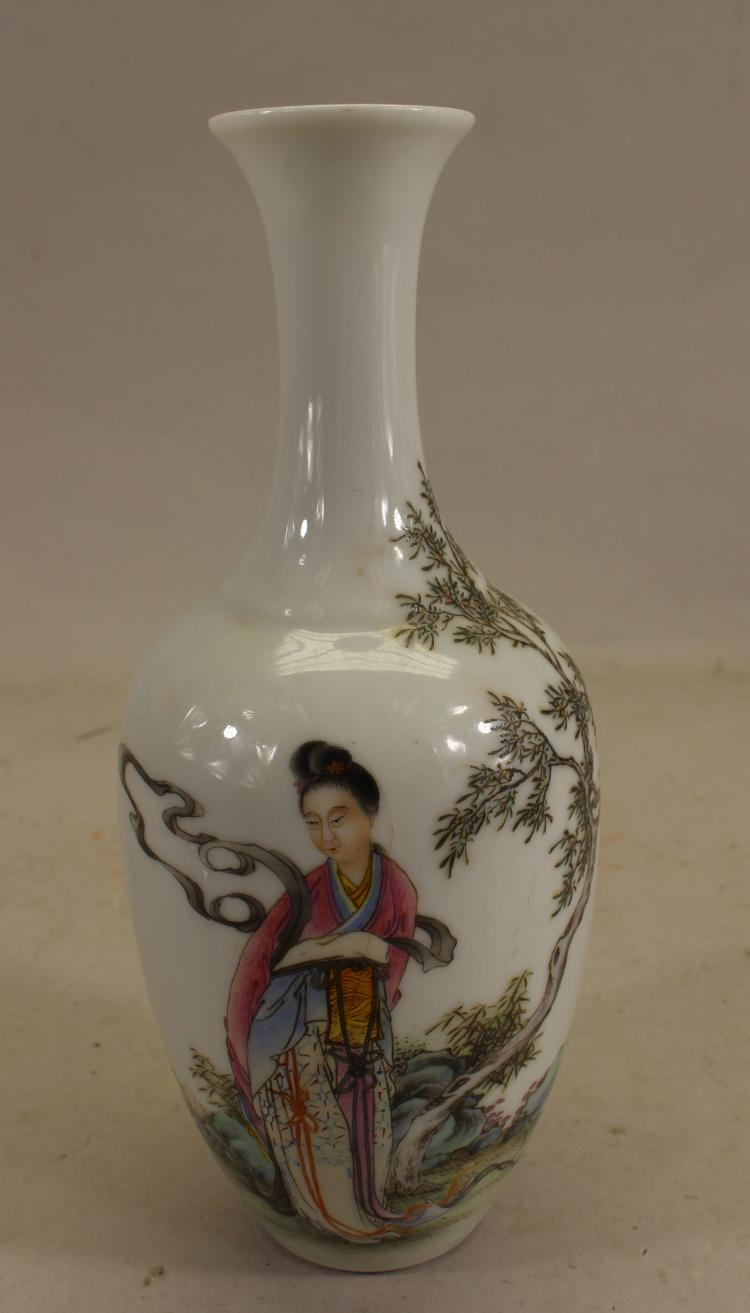 SIGNED, CHINESE FIGURAL PORCELAIN VASE (AS IS)