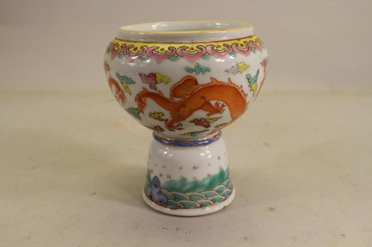 CHINESE FAMILLE ROSE PORCELAIN DRAGON STEM CUP