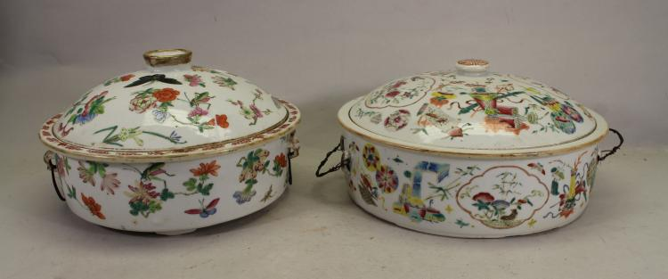 (2) CHINESE EXPORT FAMILLE ROSE COVERED VESSELS