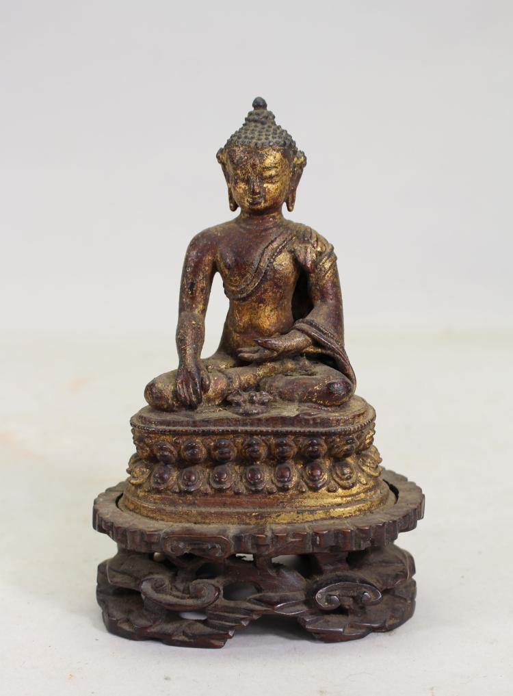 EARLY ANTIQUE CHINESE SEATED GILT BRONZE GUANYIN