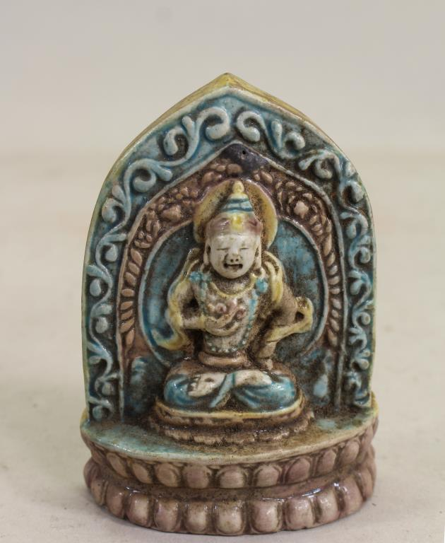 CHINESE GLAZED/CARVED SEATED BUDDHA FIGURE