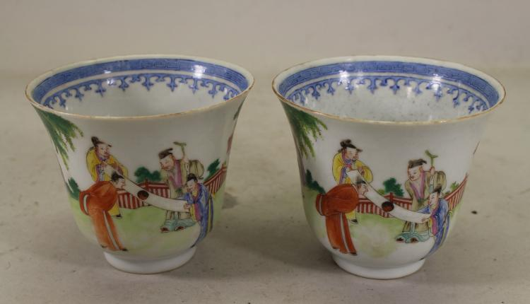 (2) SIGNED CHINESE FAMILLE ROSE FIGURAL CUPS