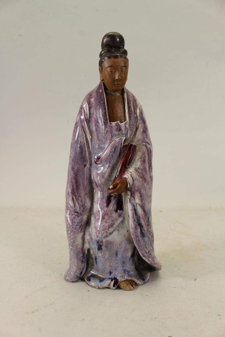 SIGNED ANTIQUE CHINESE GLAZED POTTERY DEITY FIGURE