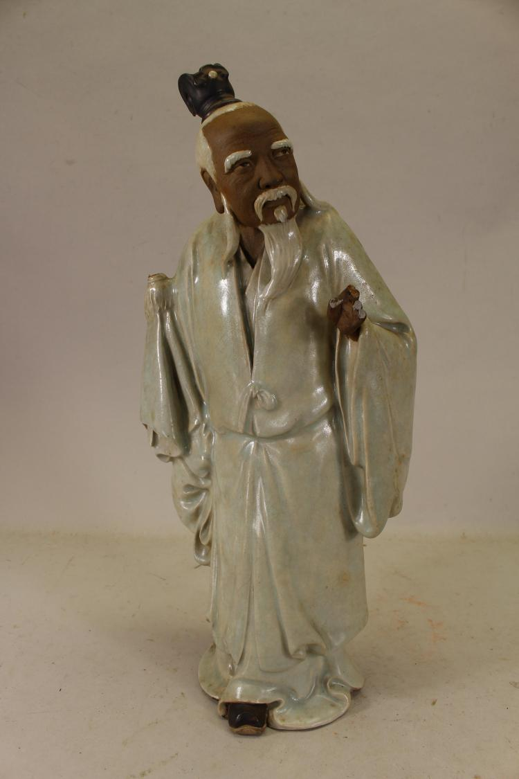 SIGNED, CHINESE GLAZED POTTERY DEITY FIGURE