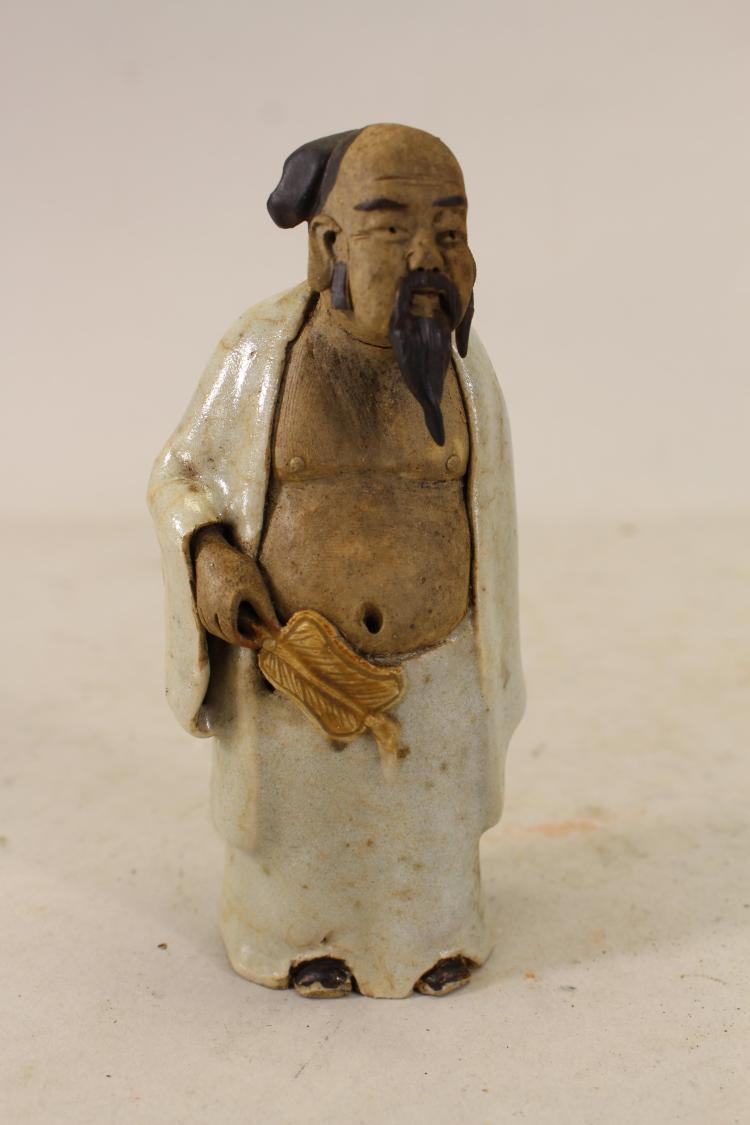 ANTIQUE CHINESE GLAZED POTTERY DIETY FIGURE