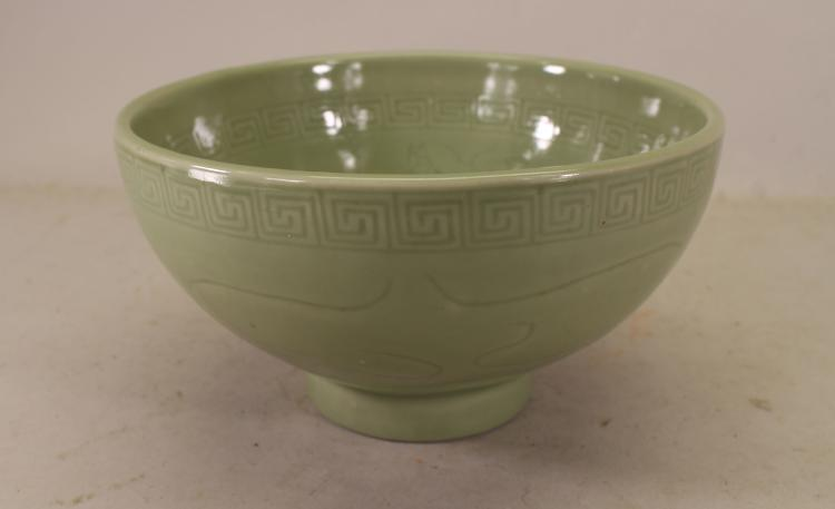 UNUSUAL FIGURAL CHINESE CELADON GLAZED BOWL