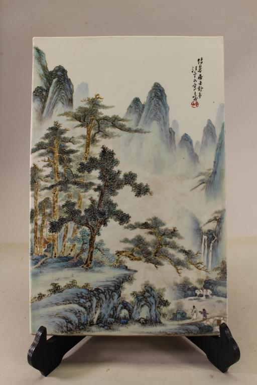 FINELY ENAMELED CHINESE FAMILLE ROSE PLAQUE