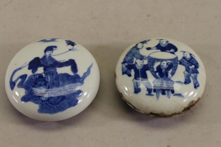 (2) ANTIQUE CHINESE BLUE/WHITE WAX SEAL CONTAINERS