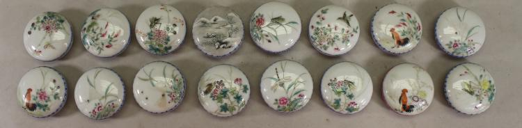 (16) CHINESE PORCELAIN WAX SEAL CONTAINERS, SIGNED