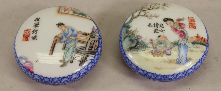 (2) SIGNED CHINESE PORCELAIN WAX SEAL CONTAINERS
