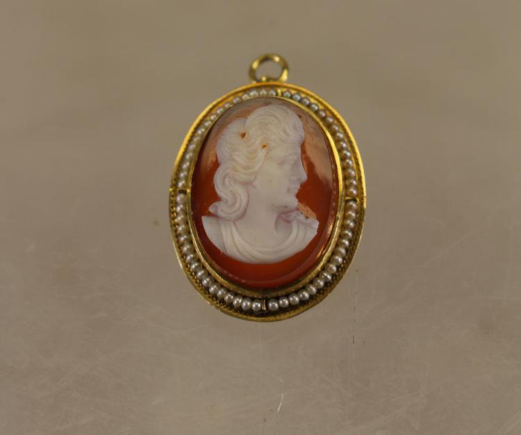SMALL CARVED CAMEO PIN/PENDANT