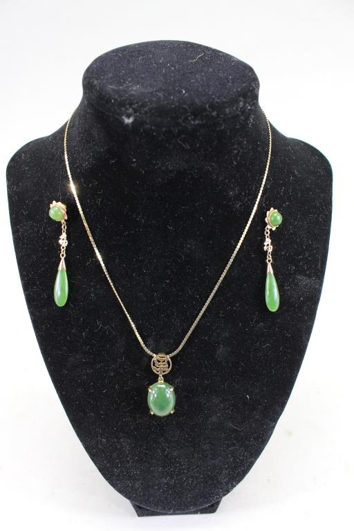14K GOLD & JADEITE NECKLACE & EARRINGS SET