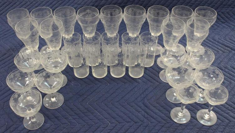 (33) ASSORTED GLASS STEMWARE SET