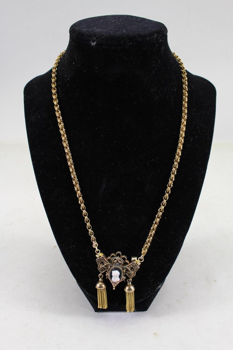 ROSE GOLD NECKLACE W/ CAMEO PENDANT & TASSELS