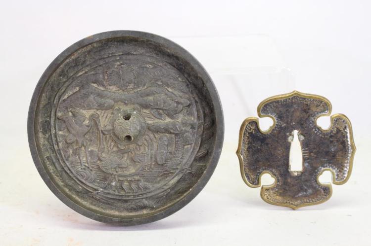 Antique Japanese Tsuba & Archaic Style Plaque
