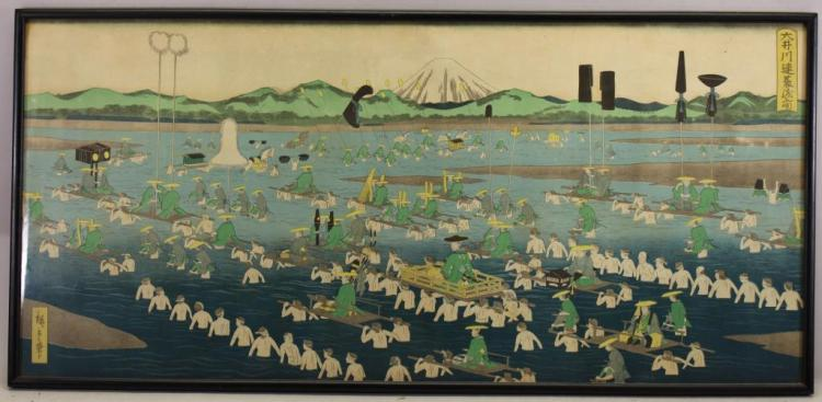 AFTER HIROSHIGE, ANTIQUE JAPANESE WOODBLOCK