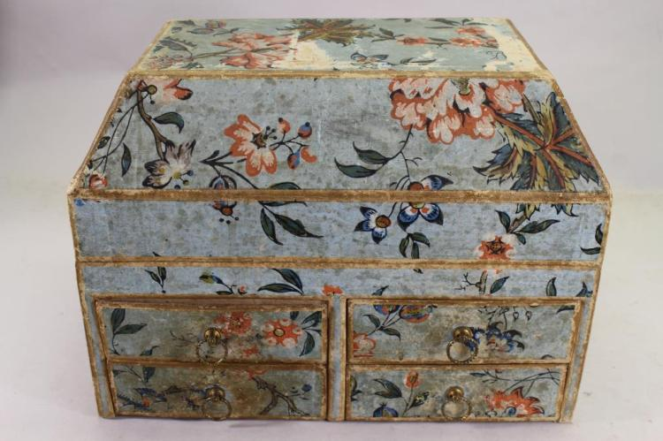 ANTIQUE WOODEN WALLPAPER COVERED CHEST