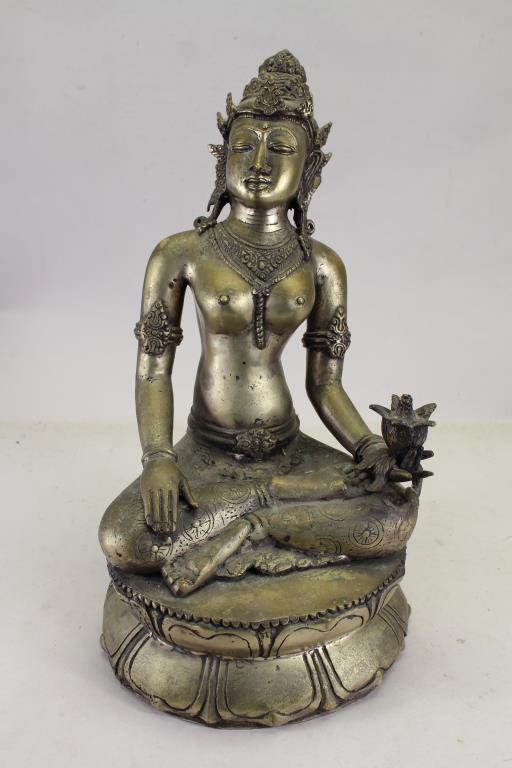 BRASS QUAN YIN MIXED METAL STATUE W/ LOTUS FLOWER