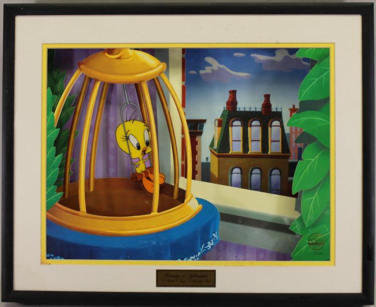 DISNEY ANIMATED MOVING 3D CELL, TWEETY & SYLVESTER