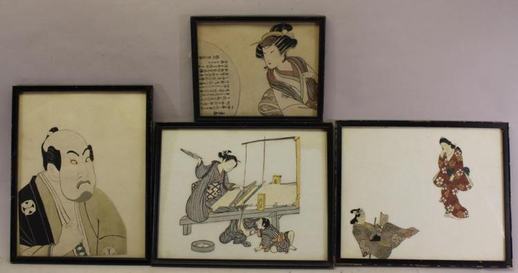 (4) FRAMED ANTIQUE JAPANESE WOODBLOCKS