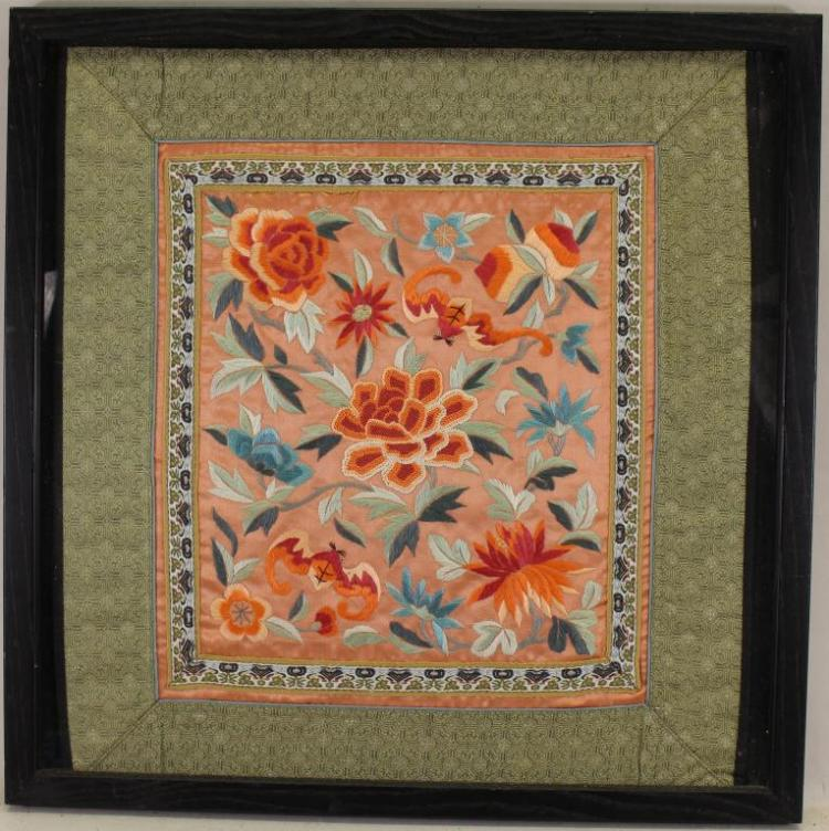 FRAMED ANTIQUE CHINESE EMBROIDERY