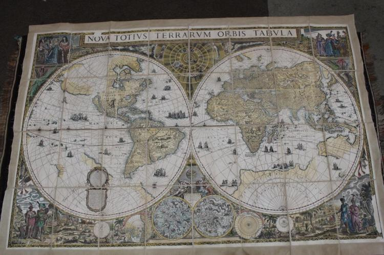 20TH C. COLORED WORLD MAP ON LINEN