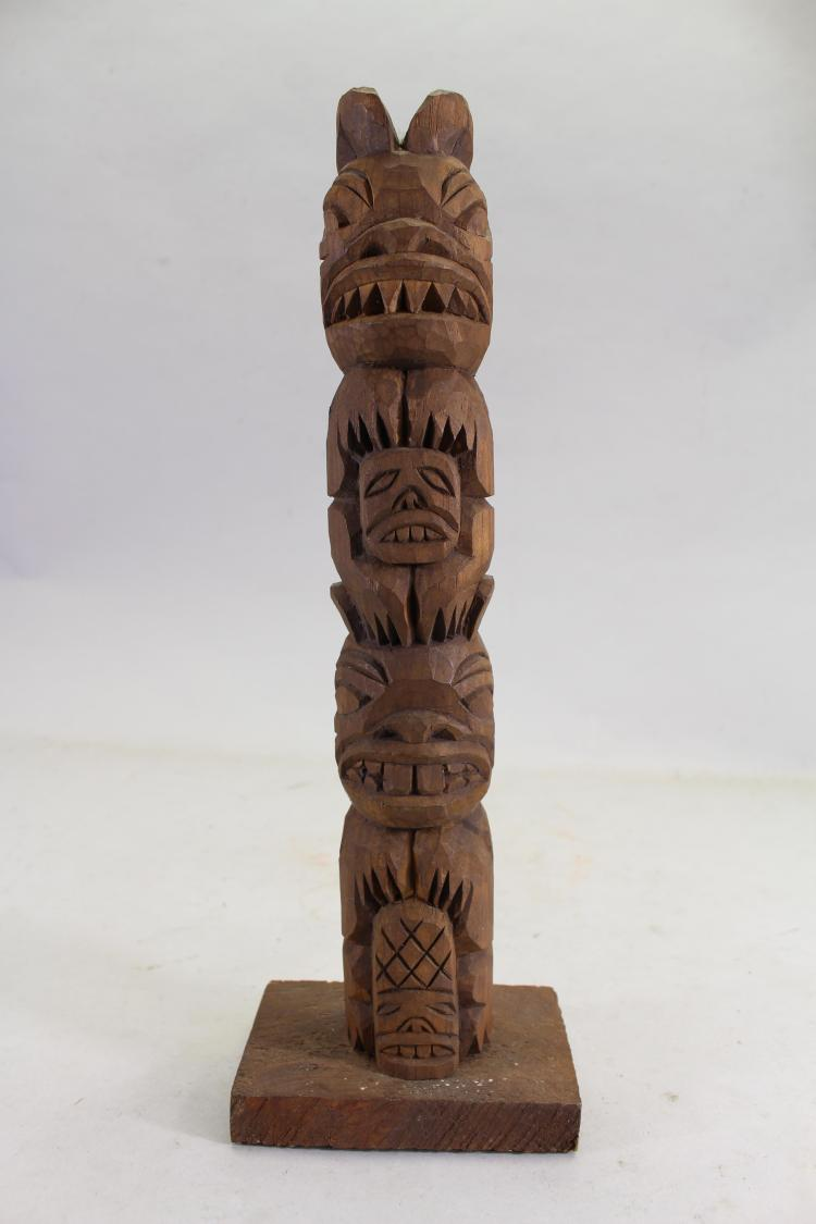 HAND CARVED WOODEN TOTEM POLE