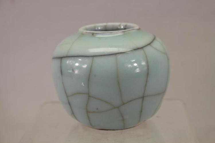 CHINESE CRACKLE STYLE CERAMIC OVOID FORM JAR