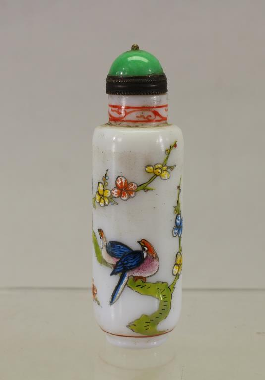 CYLINDRICAL FORM CHINESE SNUFF BOTTLE W/ STOPPER