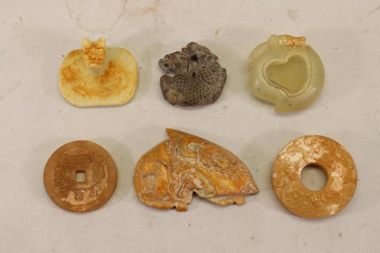 (6) ARCHAIC STYLE CHINESE CARVED STONE PENDANTS