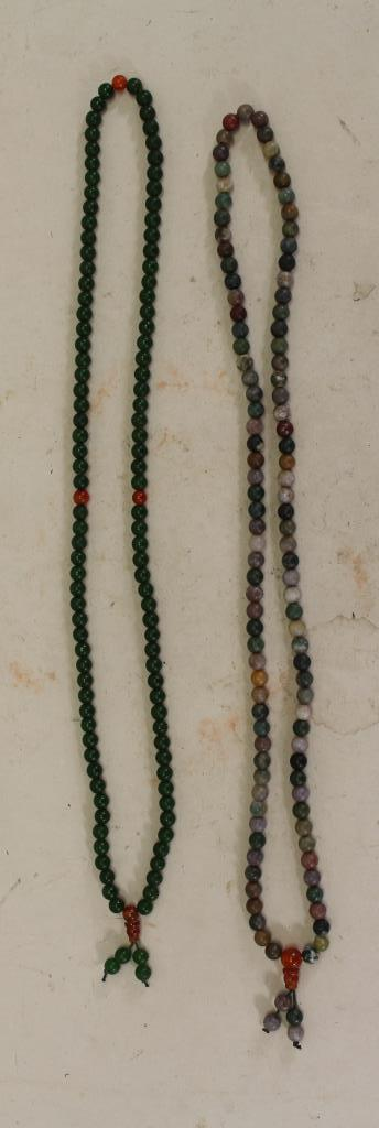 (2) CHINESE BEADED NECKLACES