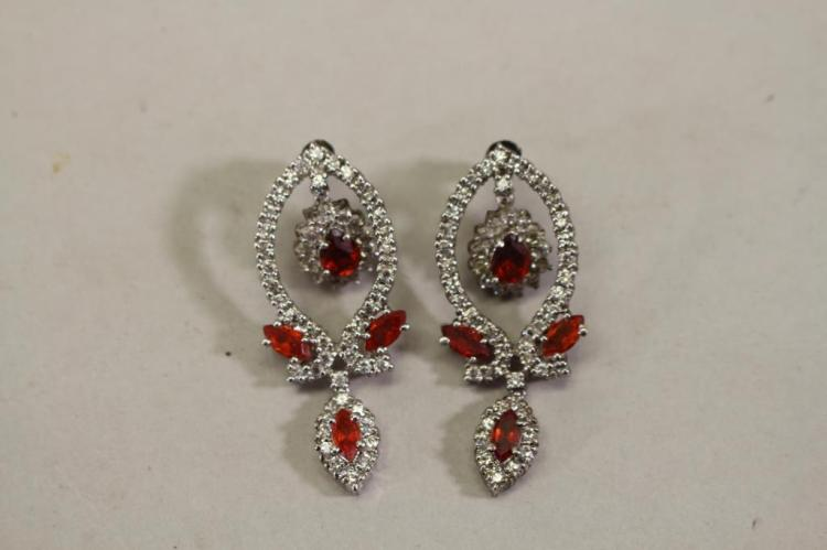 PAIR OF MIXED STONE RED STONE INSET EARRINGS
