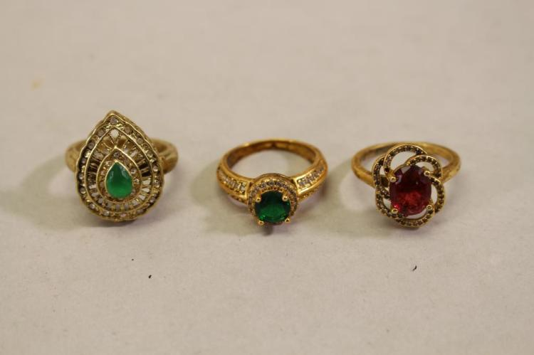 (3) GOLD TONE/MIXED STONE RINGS