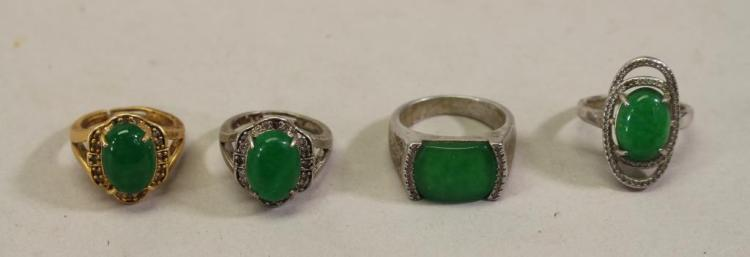 (4) ASSORTED VINTAGE GREEN STONE RINGS