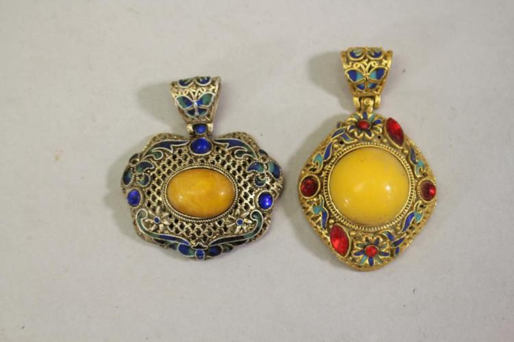 (2) MIXED STONE PENDANTS WITH YELLOW STONE INSET