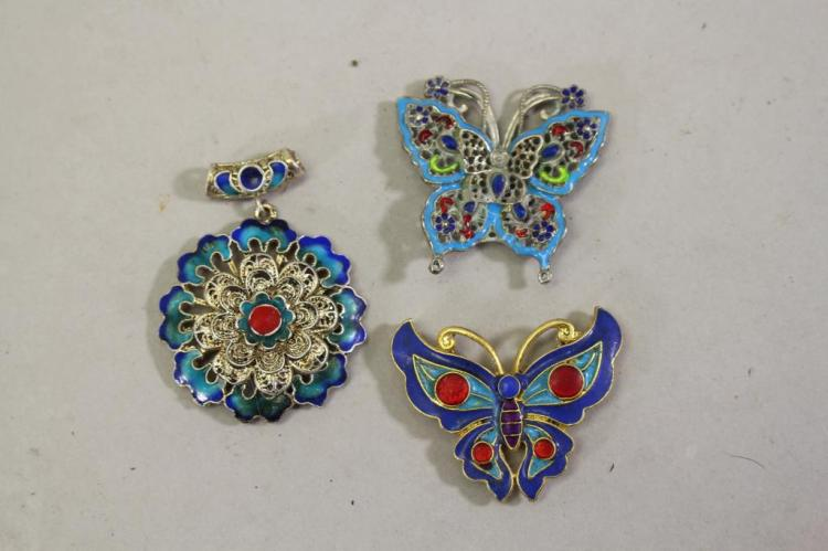 (3) ASSORTED PENDANTS, BUTTERFLIES & FLOWER