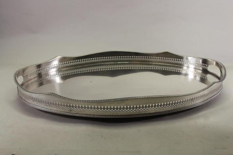 LARGE GALLERIED SILVERPLATE SERVING TRAY