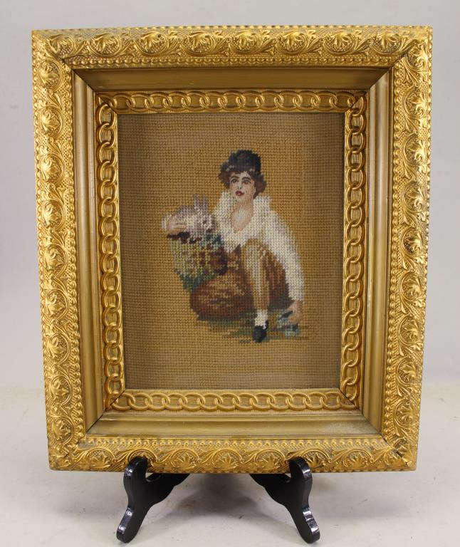 VINTAGE, FRAMED NEEDLEWORK OF YOUNG GIRL & BUNNY