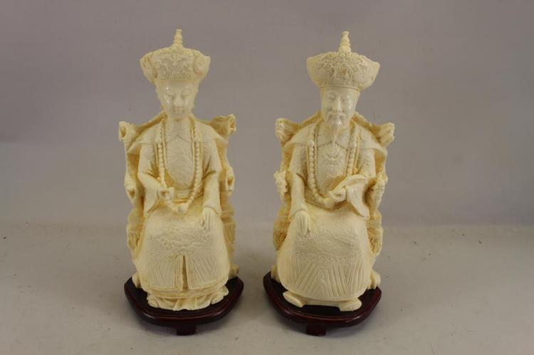 (2) CARVED CHINESE IVORINE FIGURES ON STAND